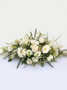 Funeral : White Coffin Arrangement