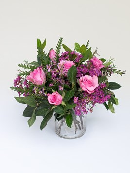 TF: Pink Roses in a Glass Vase