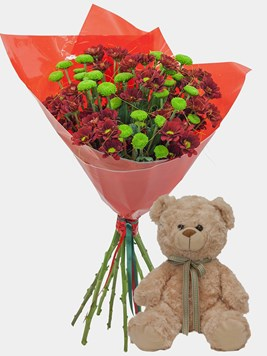 Bouquets: Crysanth Happiness with Teddy
