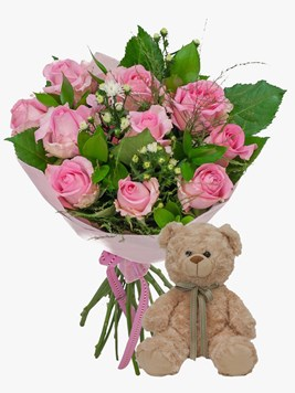 Bouquets: Pink Rose Bouquet with Teddy