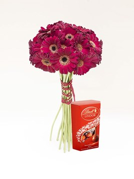 Bouquets: Red Gerbera Bouquet with Lindt Lindor