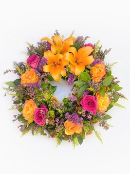 Funeral : Multicoloured Round Wreath