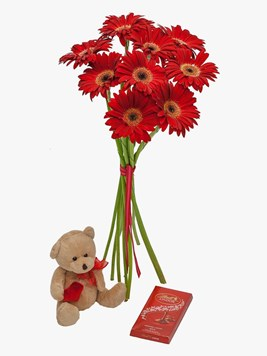 Bouquets: Red Gerberas & Lindt Chocolate